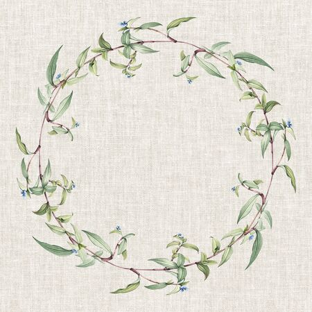 Botanical green wreath on a weaved background