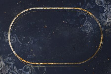 Oval frame on black marble textured background Stok Fotoğraf - 124725021