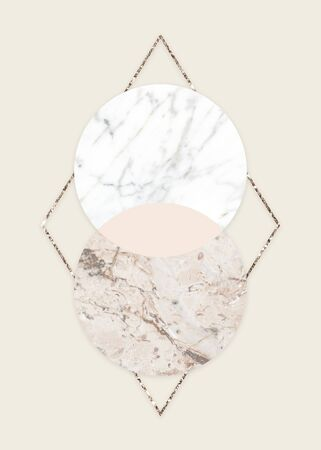 Round marble textured frame on a shimmering rhombus