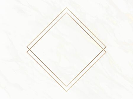 Gold rhombus frame on a white marble background