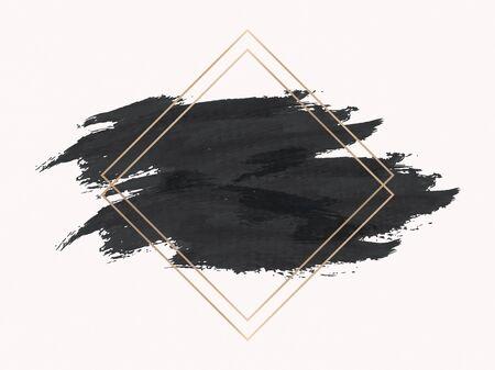 Gold rhombus frame on a black background