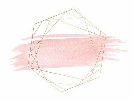 Gold geometric frame on a pink brushstroke background