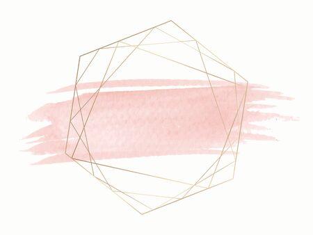 Marco geométrico dorado sobre un fondo de pincelada rosa