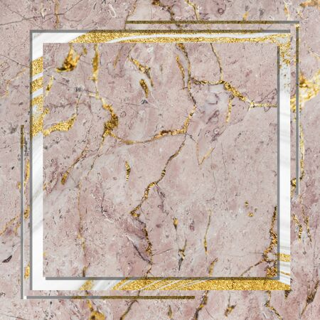 Square frame on pink marble textured background Stock fotó - 124725057