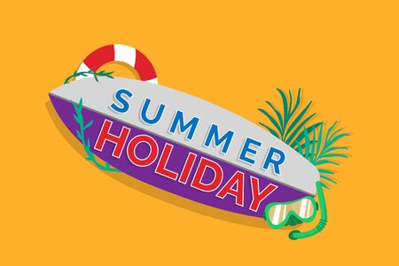 Summer holiday on a surfboard vector Illustration