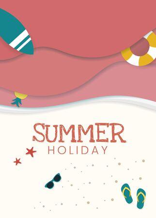 Summer holiday tropical beach background, vector illustration. Illustration
