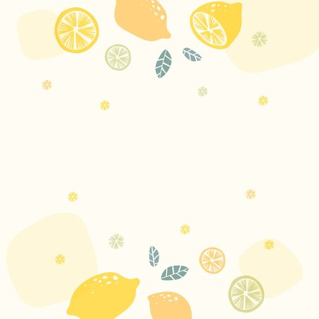 Lemon patterned background with design space, vector illustration. Vettoriali