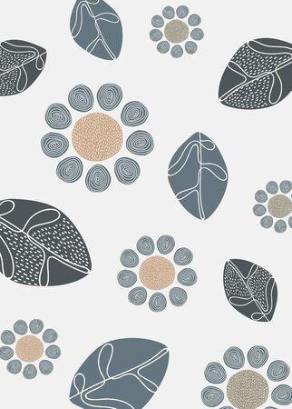 Natural patterned doodle background, vector illustration. Çizim