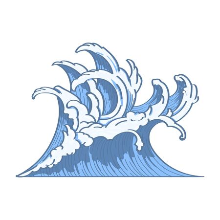 Blue Japanese wave background, vector illustration.