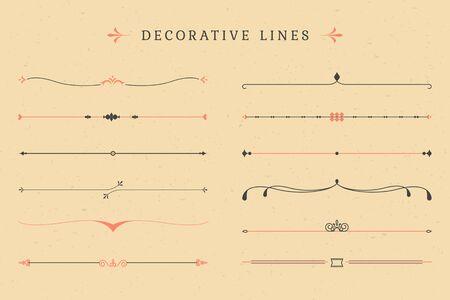 Vintage decorative line collection, vector illustration.