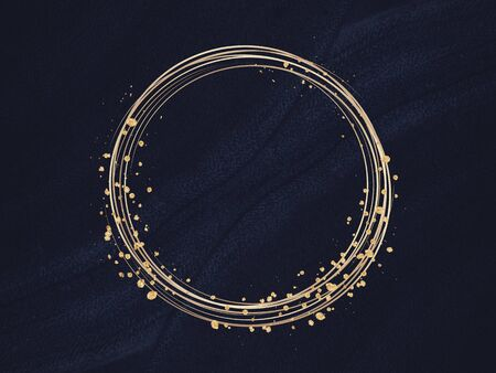 Gold circle frame on a black background