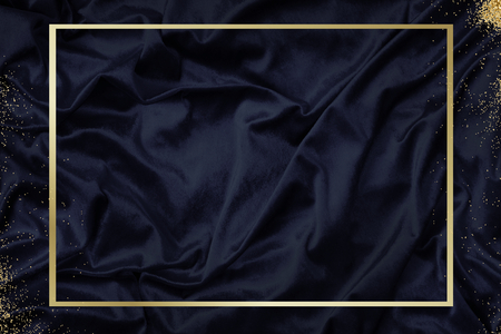 Gold frame on a silky navy blue fabric textured background illustration Imagens