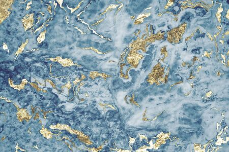 Blue and gold marble textured background 스톡 콘텐츠