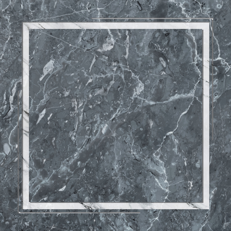 Square frame on bluish gray marble textured background Stock fotó