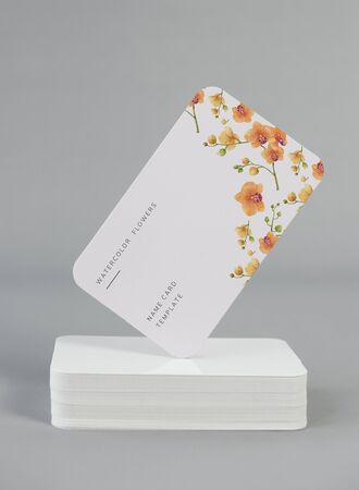 Watercolor flowers business card mockup
