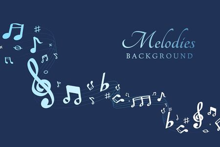 Blue flowing music notes on blue background vector Stok Fotoğraf