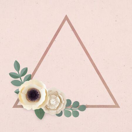 Triangle paper craft flower badge vector Standard-Bild - 125485436