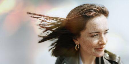 Happy woman enjoying the breeze Reklamní fotografie