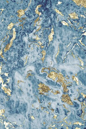 Blue and gold marble textured background Stock Photo