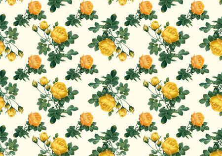 Yellow roses wallpaper design illustration Stock Photo
