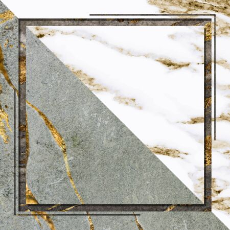Square frame on green marble background