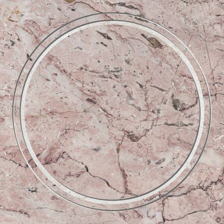 Round frame on pink marble textured background