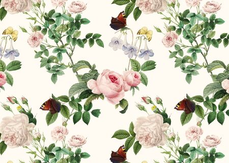 Pink roses and gloxinia flowers illustration Stock fotó