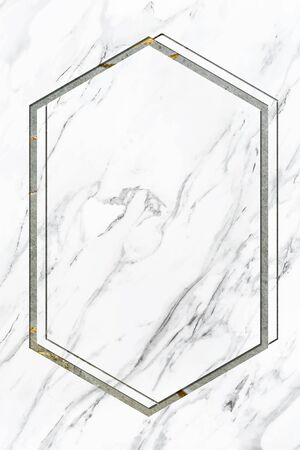 Hexagon frame on white marble textured background