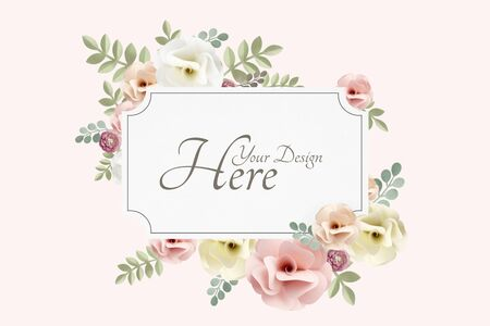 Pastel flowers themed banner mockup