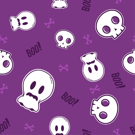 Minimalist seamless pattern print design. Repeatable endless background with cute skull, ghost, bones and boo text for halloween festive