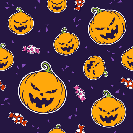 Minimalist seamless pattern print design. Repeatable endless background with pumpkin and candy element