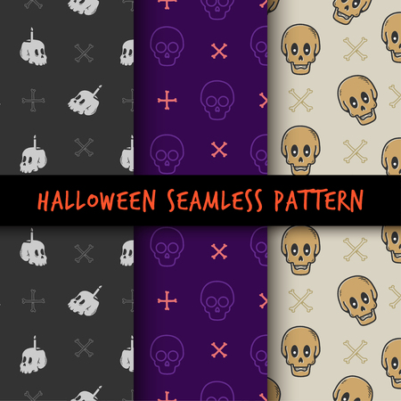 Set Minimalist seamless pattern print design. Repeatable endless background with skull