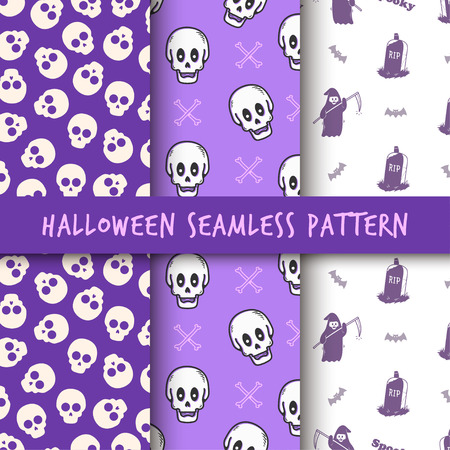 Set Minimalist seamless pattern print design. Repeatable endless background with skull, grim reaper, tombstone object Stock Illustratie