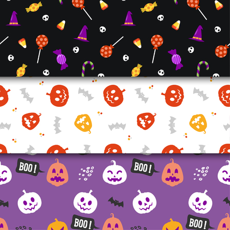 Set of minimalist seamless pattern print design. Repeatable endless background with witch hat, pumpkin, skull, candy, bat