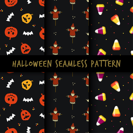 Set of minimalist seamless pattern print design. Repeatable endless background with pumpkin, scarecrow, corn candy