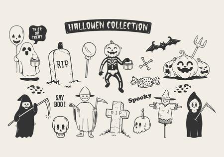 Set of halloween sketch doodle cartoon character. Stock Illustratie