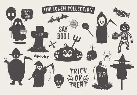 Set of halloween silhouette doodle cartoon character. stock vector.