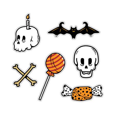 Set of cute doodle halloween skull, candy, bat and cross bone