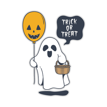 Cute halloween trick or treat ghost and balloon. doodle cartoon