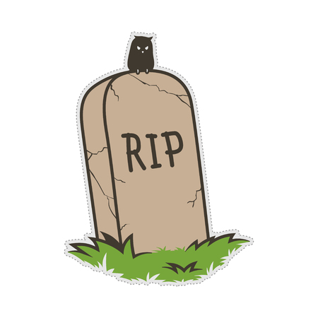 grave cemetery tombstone doodle patch sticker.