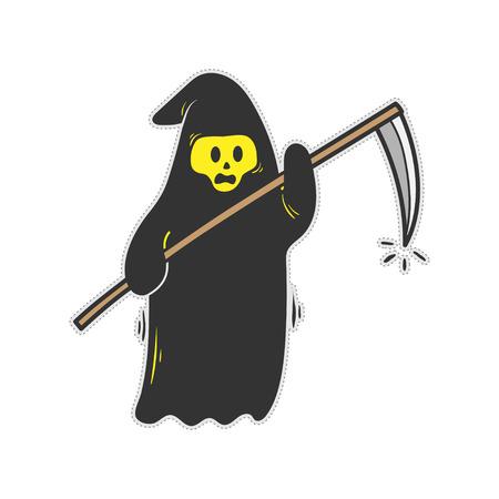 Cute grim reaper doodle cartoon vector stock.