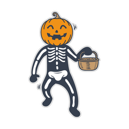 Cute skeleton pumpkin halloween costume. Doodle character for sticker, patch etc.