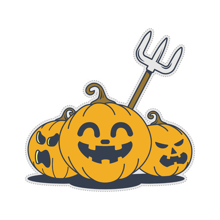 Cute halloween pumpkin doodle expression. Sticker or patch