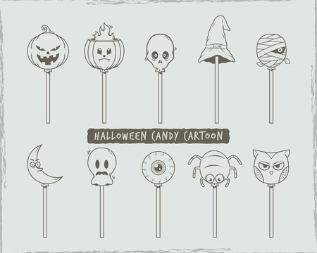 Set of halloween candy cartoon character. stock vector. Stock Illustratie