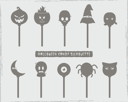 Set of halloween silhouette doodle candy character. stock vector.