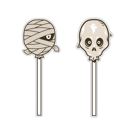 Skull and mummy candy doodle character for sticker or patch Stock Illustratie