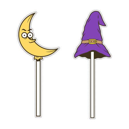 Cute doodle candy crescent moon, witch hat for sticker or patch