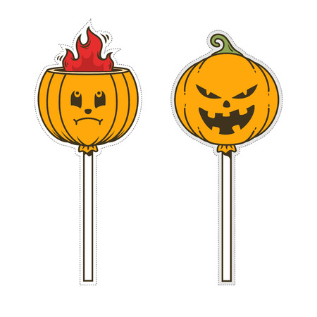 pumpkin doodle candy character patch or sticker