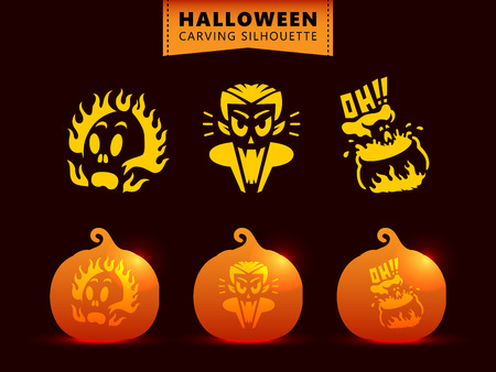Set of silhouette pumpkin carving character template. burned skull, vampire dracula, kettle witch Stock Illustratie