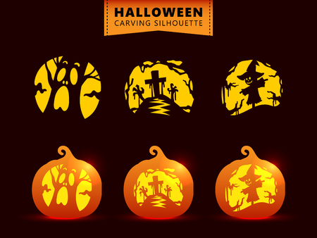 Set of silhouette pumpkin carving character template. spooky tree, graveyard zombie, scarecrow Stock Illustratie